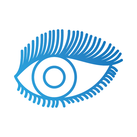 beautiful female eye wide open with eyebrow and eyelash vector illustration