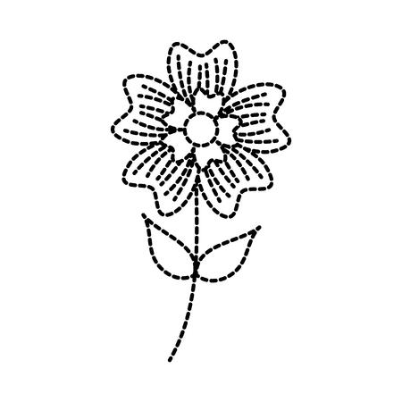 Pervinca fiore petalo foglie staminali natura pianta illustrazione vettoriale Archivio Fotografico - 90043144