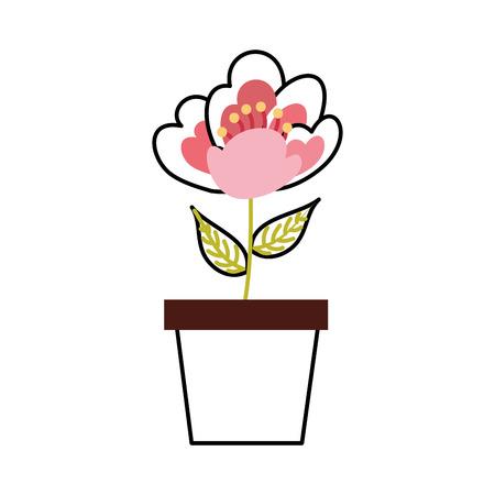 Illustrazione di vettore di immagine di fioritura delicata fiore di ciliegio in vaso Archivio Fotografico - 90043675