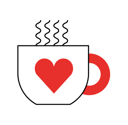 cup of coffee tea hot with heart icon on white background vector illustration Illustration