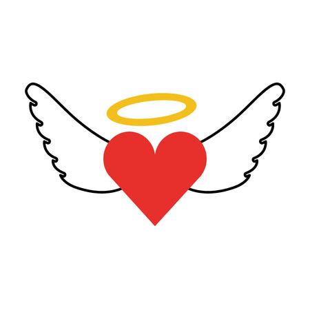 romantic winged heart love on valentines day vector illustration Vettoriali