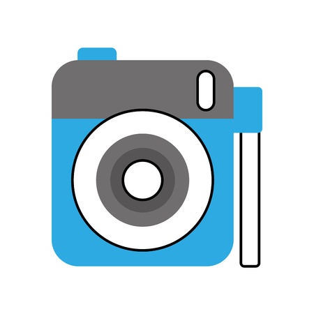 photo camera lens flash button device cartoon vector illustration Imagens - 90043219
