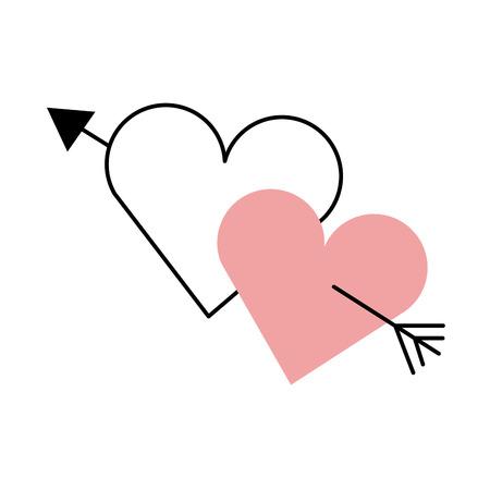 Dos corazones perforados con flecha romántica ilustración de vector de amor Foto de archivo - 90043220