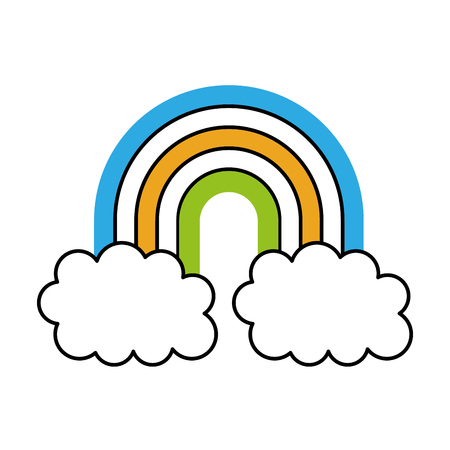 symbol of rainbow and clouds in the sky vector illustration