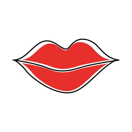 vrouwelijke lippen schoonheid mond natuurlijke pictogram vectorillustratie Stock Illustratie