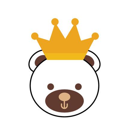 cute teddy bear wearing crown animal design vector illustration Illustration