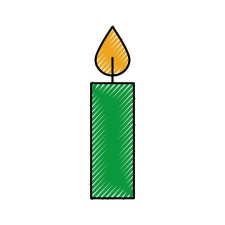 Kerst kaars brandende viering decoratie vector illustratie