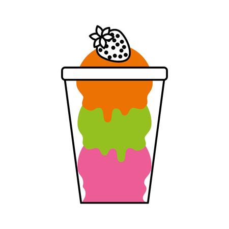 ijs met aardbei in glazen beker vectorillustratie