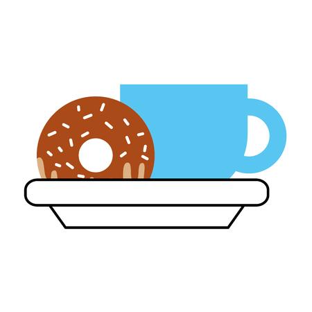 커피 컵과 달콤한 도넛 형 맛있는 음식 벡터 일러스트 레이션