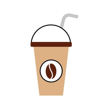 plastic koffiekopje drinken met koepel deksel en stro vector illustratie Stock Illustratie