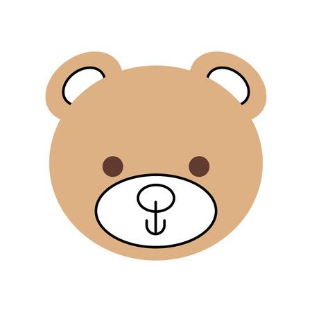 cute teddy bear head toy chilhood vector illustration