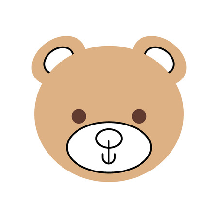 cute teddy bear head toy chilhood vector illustration