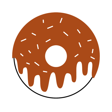 sweet donut yummy food decoration glazed pastry delicious vector illustration