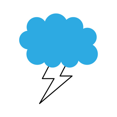 cartoon lightning bolt and cloud weather vector illustration