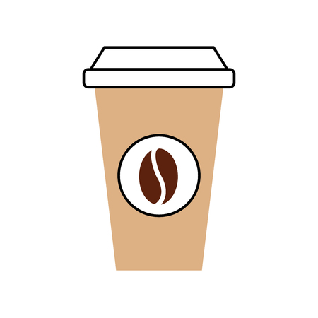 portable coffee cup paper bean cap fresh vector illustration Illustration
