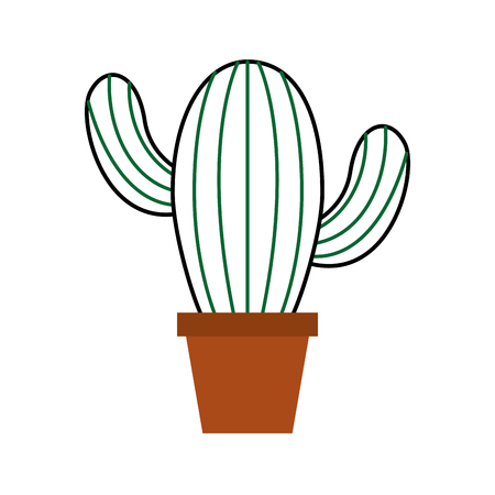 potted cactus natural plant decoration interior vector illustration