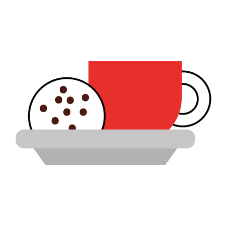 kopje koffie en cookie chocoladeschilfers vector illustratie Stock Illustratie