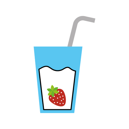 glass cup of juice strawberry with straw beverage fresh vector illustration