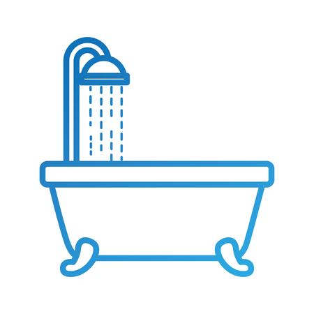 욕실 욕조 샤워 물 내부 벡터 일러스트 레이션 일러스트