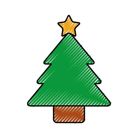 christmas tree pine decoration ornament design vector illustration 向量圖像