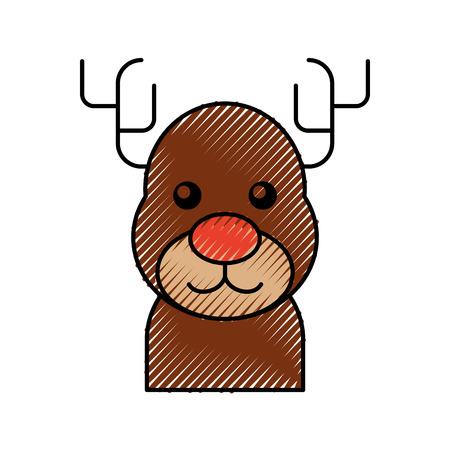 Kerst rendieren dier gehoornde grappige vectorillustratie Stockfoto - 90043360