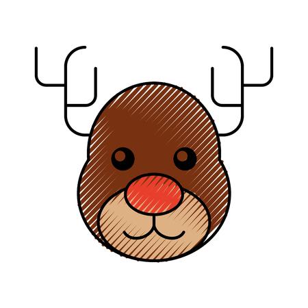 christmas reindeer animal horned funny vector illustration Stock Vector - 90043368
