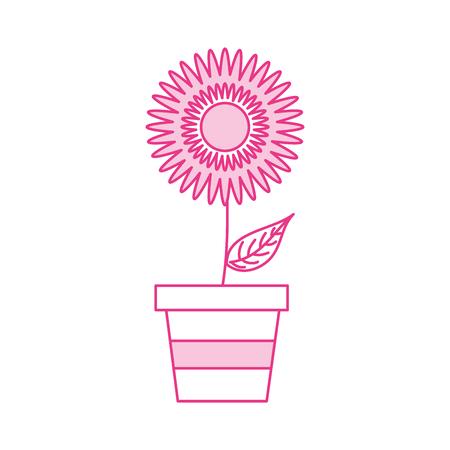 potted dahlia flower floral ornament garden image vector illustration