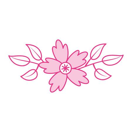 crocus flower branch leaves natural petal decoration vector illustration