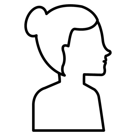 woman profile shirtless avatar character vector illustration design