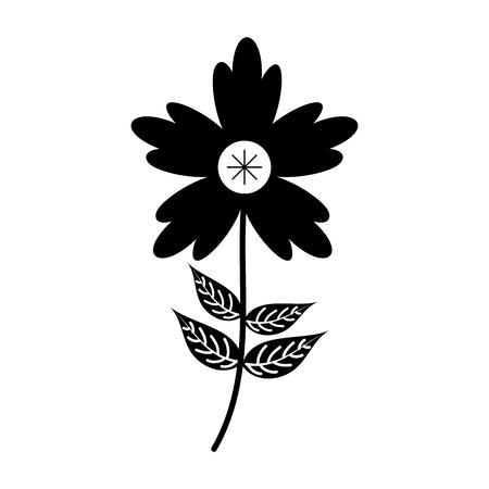 crocus flower petal leaves stem natural ornament vector illustration