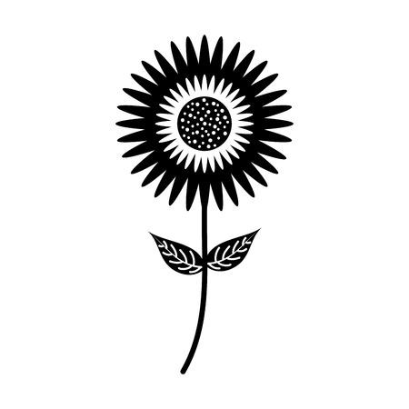 dahlia flower floral ornament garden petal leaves stem vector illustration