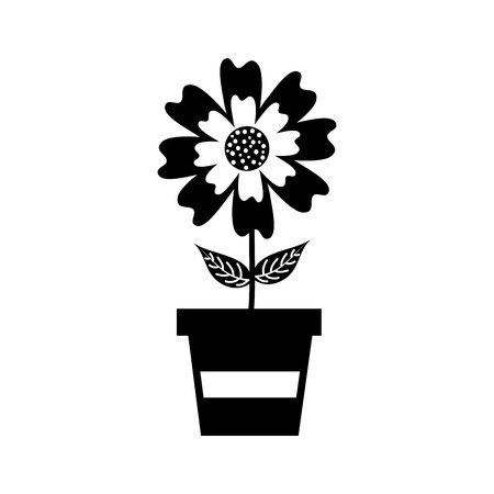 potted aster flower natural petal decoration image vector illustration Иллюстрация