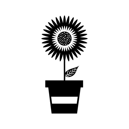 鉢植えのダリアの花花飾りガーデン イメージ ベクトル イラスト