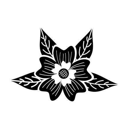 periwinkle flower nature leaves decoration vector illustration