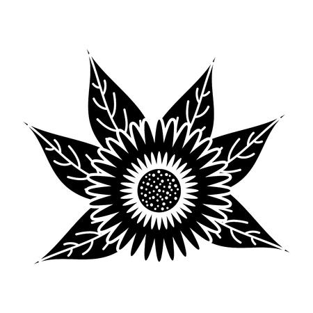 dahlia flower leaves bulb floral ornament vector illustration