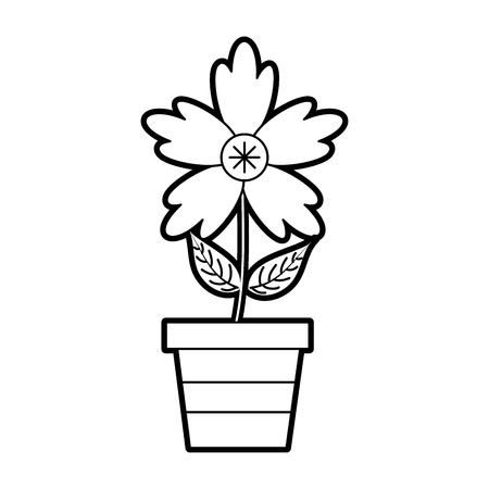 화분 된 크로커스 꽃 자연 장식 장식 벡터 일러스트 레이션