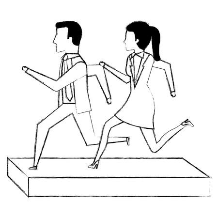 businesspeople running avatars characters vector illustration design