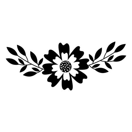 aster flower branch leaves natural petal decoration vector illustration Illustration