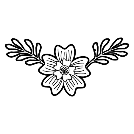 periwinkle 꽃 자연 식물 잎 장식 벡터 일러스트 레이 션 일러스트