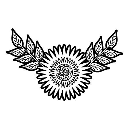 dahlia flower floral ornament garden leaves decoration vector illustration