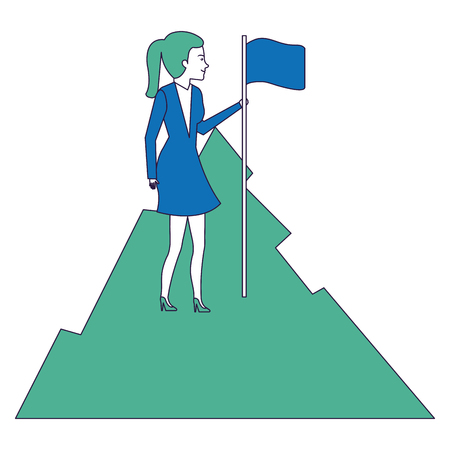 businesswoman with flag in the mountain vector illustration design Illustration