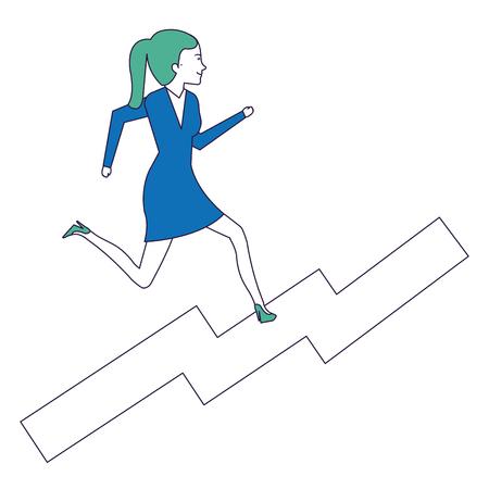businesswoman in statistic avatar character vector illustration design Illustration