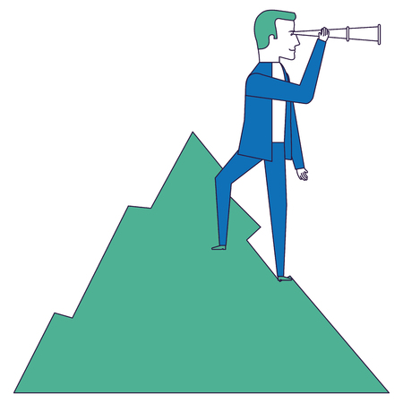smart goals: businessman with telescope in the mountain vector illustration design
