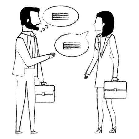 business people with speech bubbles avatars characters vector illustration
