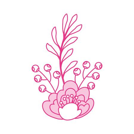 pink flower leaves branch berries natural vector illustration