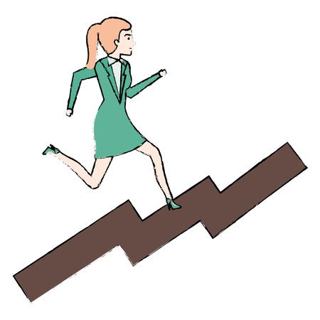 smart girl: businesswoman in statistic avatar character vector illustration design Illustration