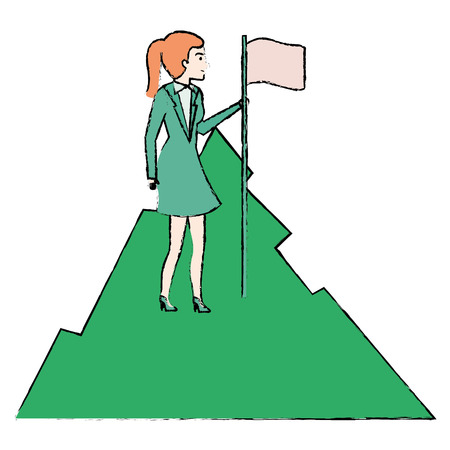 smart goals: businesswoman with flag in the mountain vector illustration design Illustration
