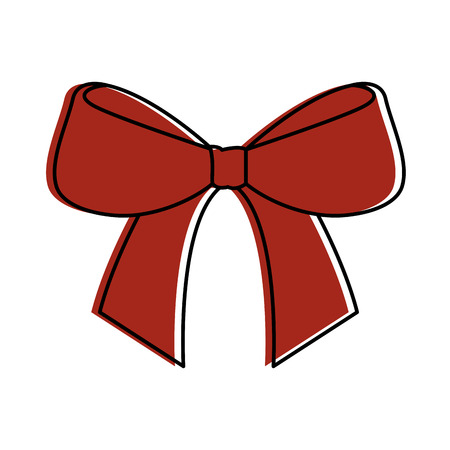 christmas bow ribbon decoration ornament vector illustration Ilustração