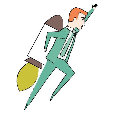 launcher: businessman with rocket avatar character vector illustration design Illustration