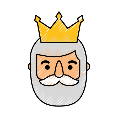 the wise king face christmas cartoon vector illustration Иллюстрация